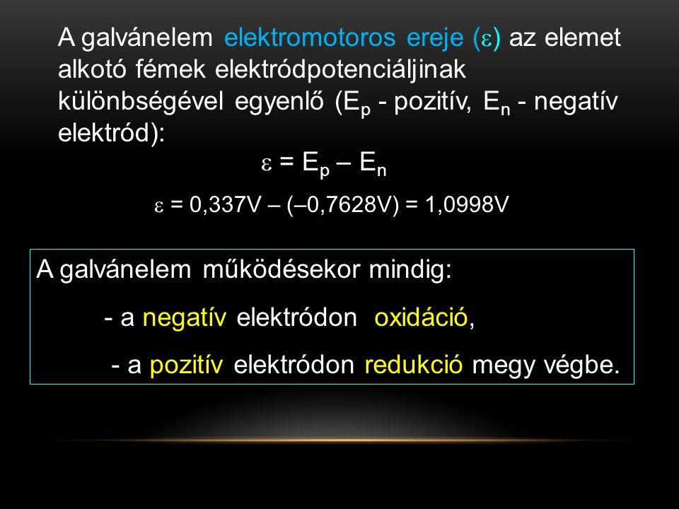 A galvánelem működésekor mindig: - a negatív elektródon oxidáció,