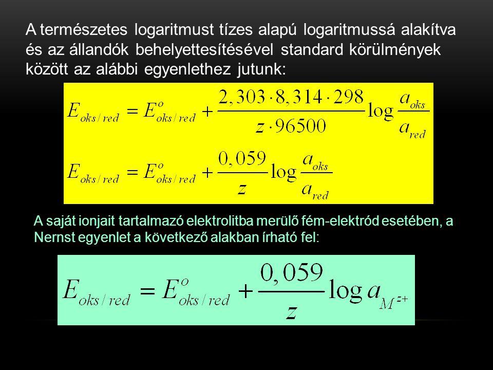 A természetes logaritmust tízes alapú logaritmussá alakítva és az állandók behelyettesítésével standard körülmények között az alábbi egyenlethez jutunk: