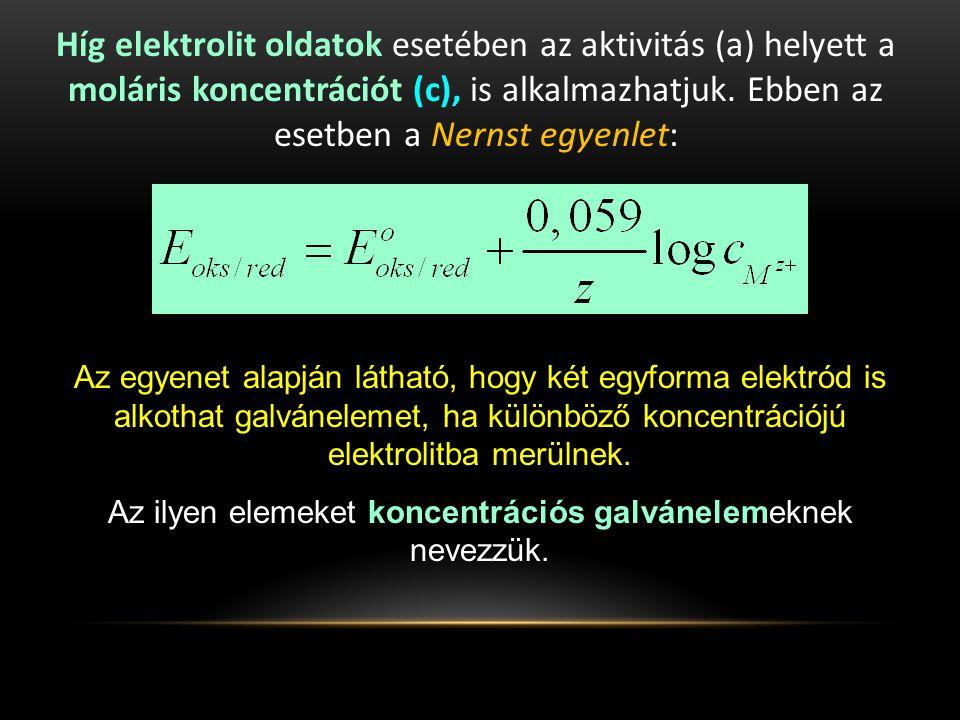 Az ilyen elemeket koncentrációs galvánelemeknek nevezzük.