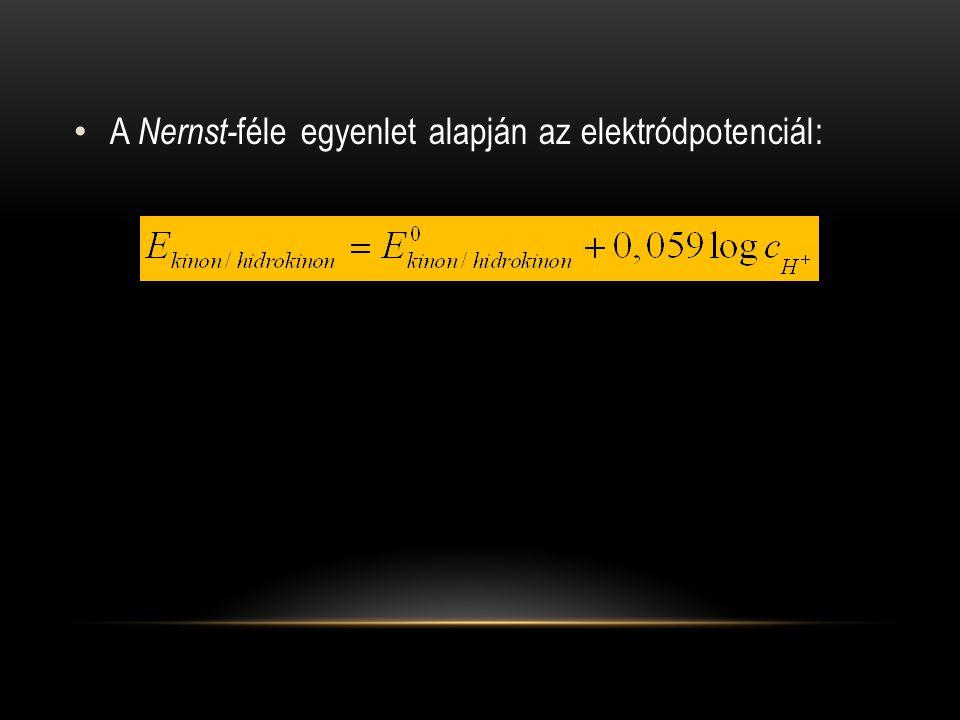 A Nernst-féle egyenlet alapján az elektródpotenciál: