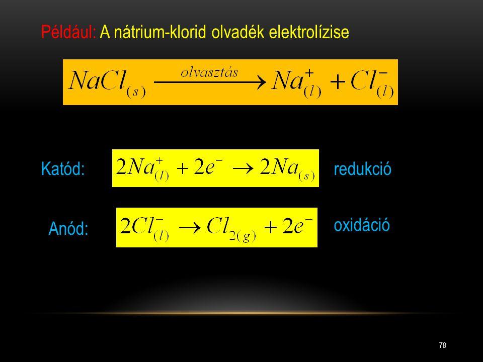Például: A nátrium-klorid olvadék elektrolízise
