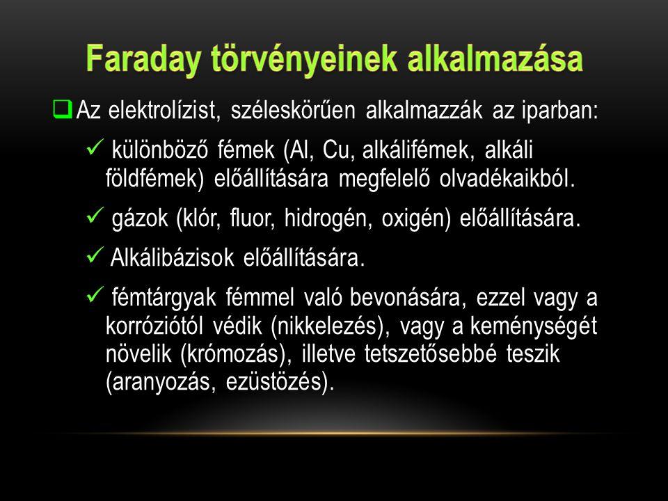 Faraday törvényeinek alkalmazása