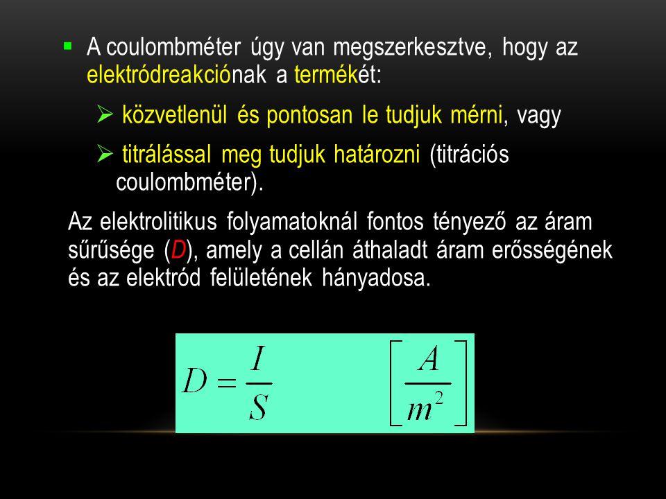 A coulombméter úgy van megszerkesztve, hogy az elektródreakciónak a termékét: