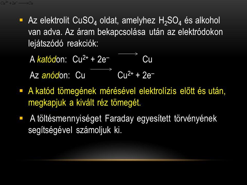 Az elektrolit CuSO4 oldat, amelyhez H2SO4 és alkohol van adva
