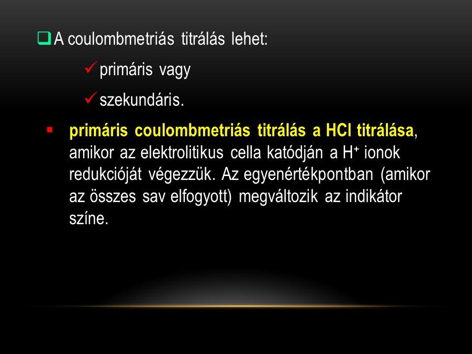 A coulombmetriás titrálás lehet: