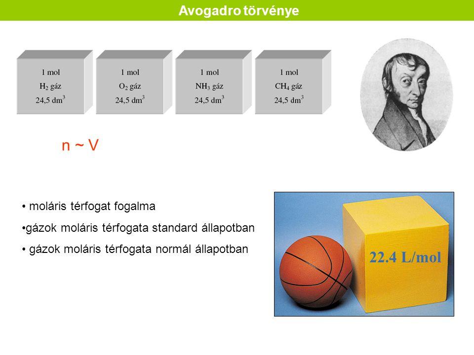 n ~ V 22.4 L/mol Avogadro törvénye moláris térfogat fogalma