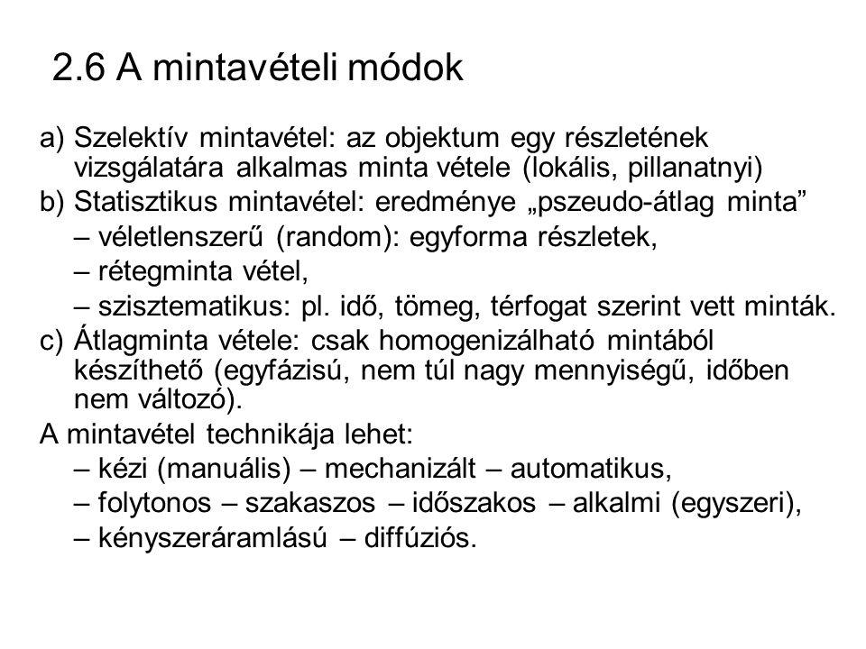 2.6 A mintavételi módok a) Szelektív mintavétel: az objektum egy részletének vizsgálatára alkalmas minta vétele (lokális, pillanatnyi)
