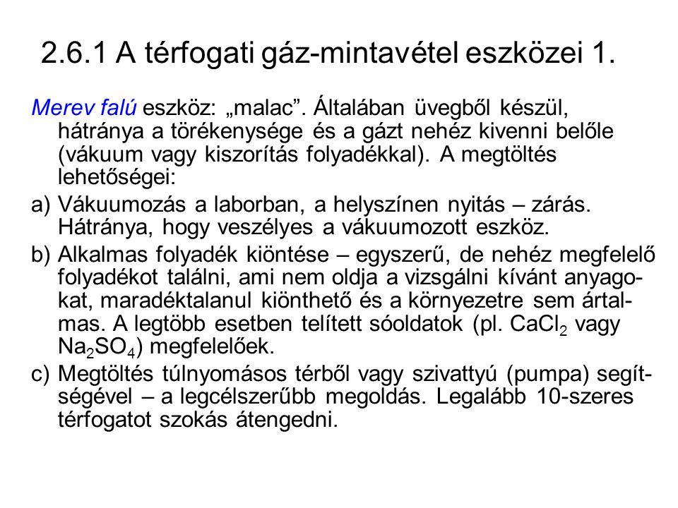 2.6.1 A térfogati gáz-mintavétel eszközei 1.