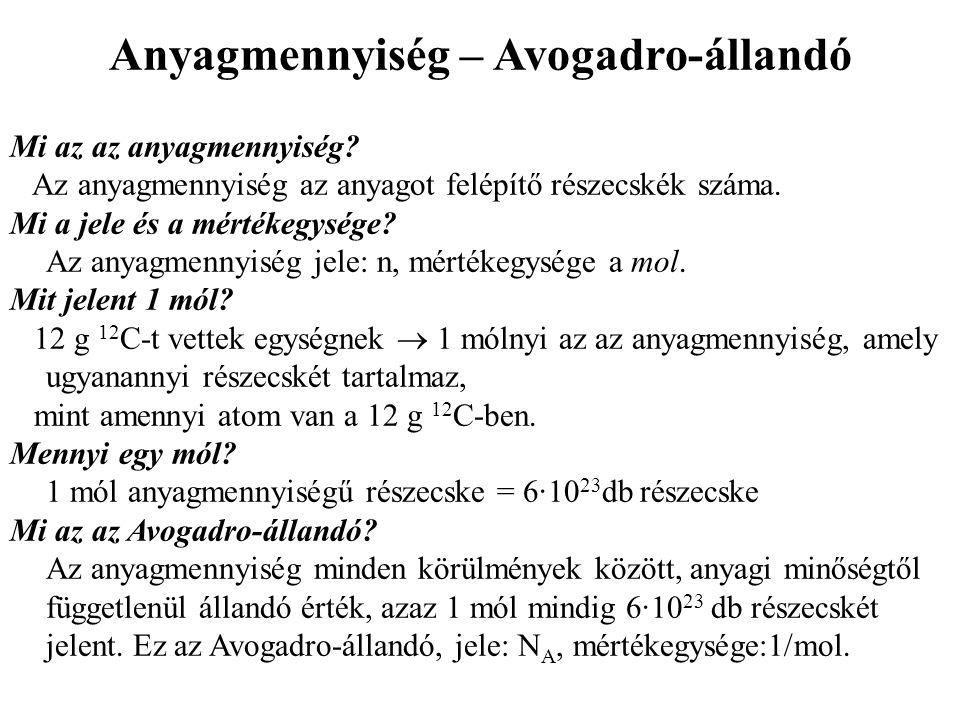 Anyagmennyiség – Avogadro-állandó