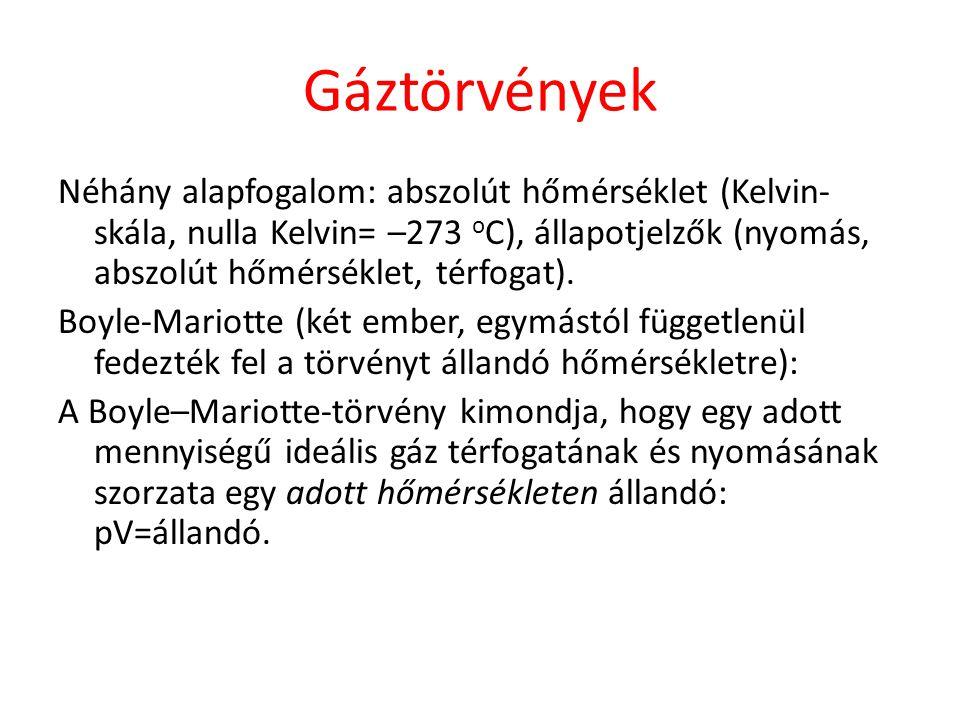 Gáztörvények Néhány alapfogalom: abszolút hőmérséklet (Kelvin-skála, nulla Kelvin= –273 oC), állapotjelzők (nyomás, abszolút hőmérséklet, térfogat).
