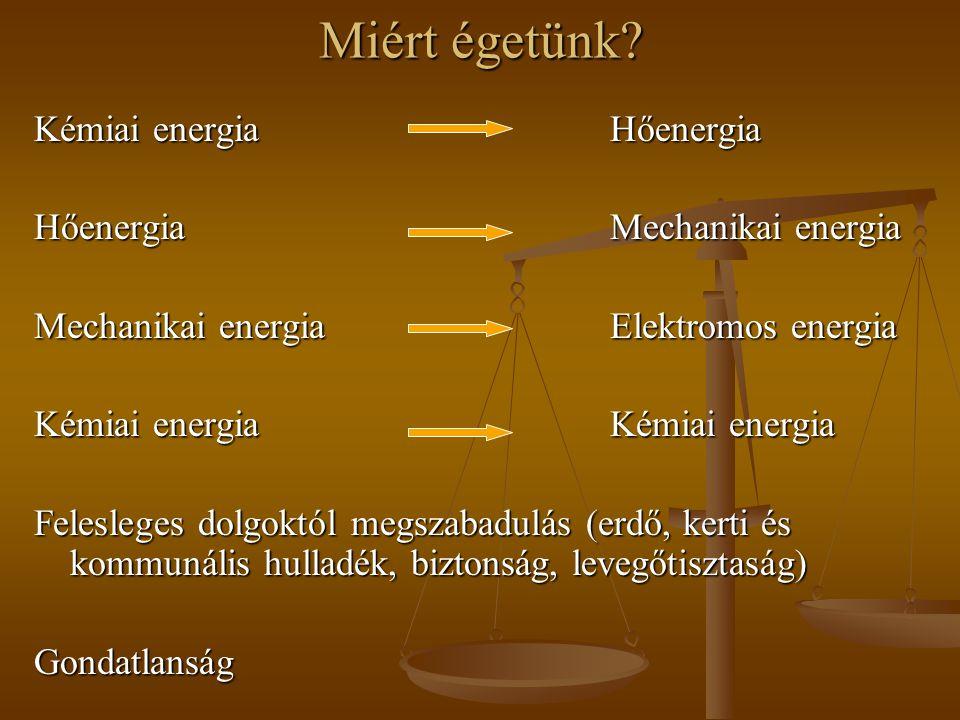 Miért égetünk Kémiai energia Hőenergia Hőenergia Mechanikai energia