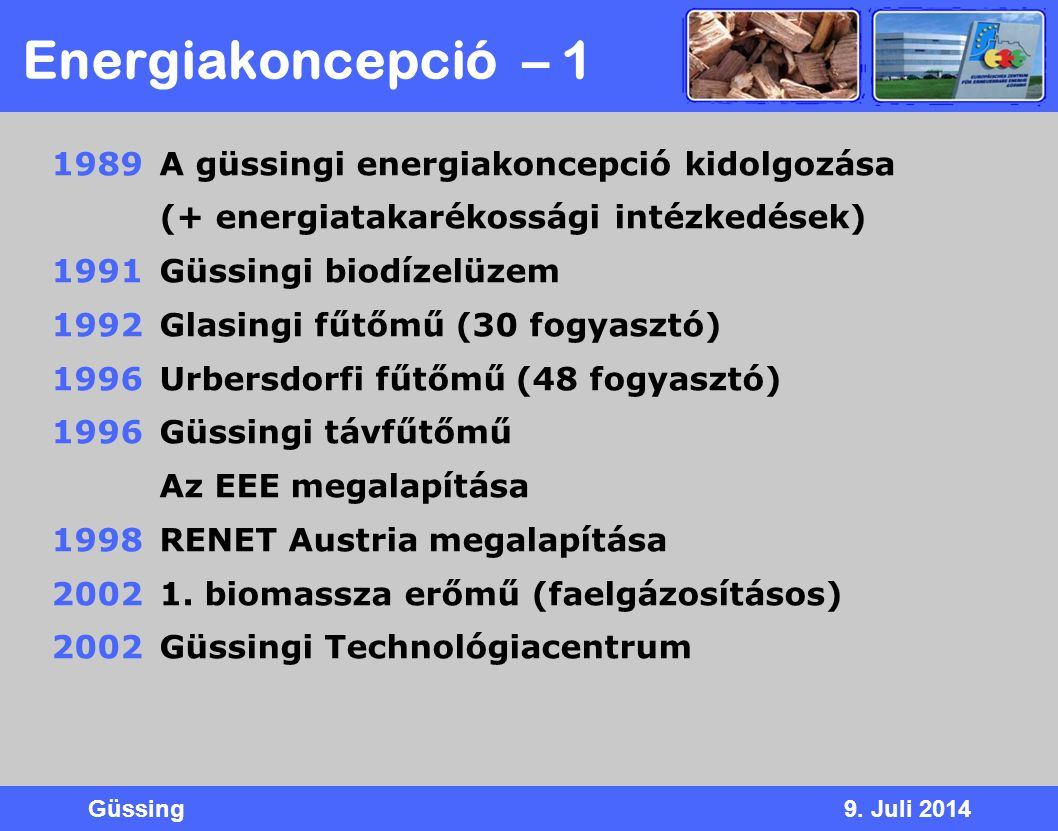 Energiakoncepció – 1 A güssingi energiakoncepció kidolgozása