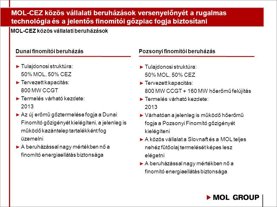 MOL-CEZ közös vállalati beruházások versenyelőnyét a rugalmas technológia és a jelentős finomítói gőzpiac fogja biztosítani