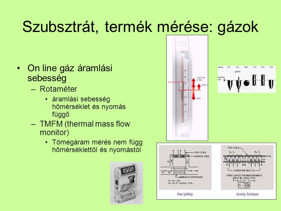 Szubsztrát, termék mérése: gázok
