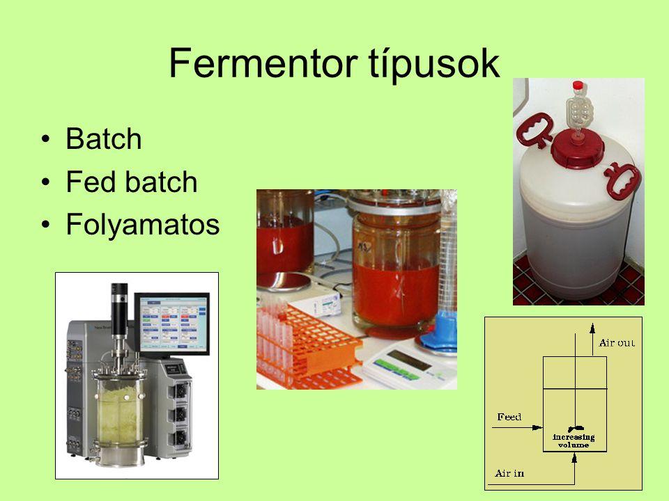 Fermentor típusok Batch Fed batch Folyamatos