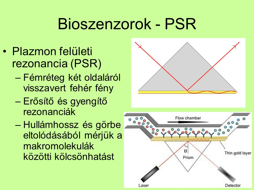 Bioszenzorok - PSR Plazmon felületi rezonancia (PSR)