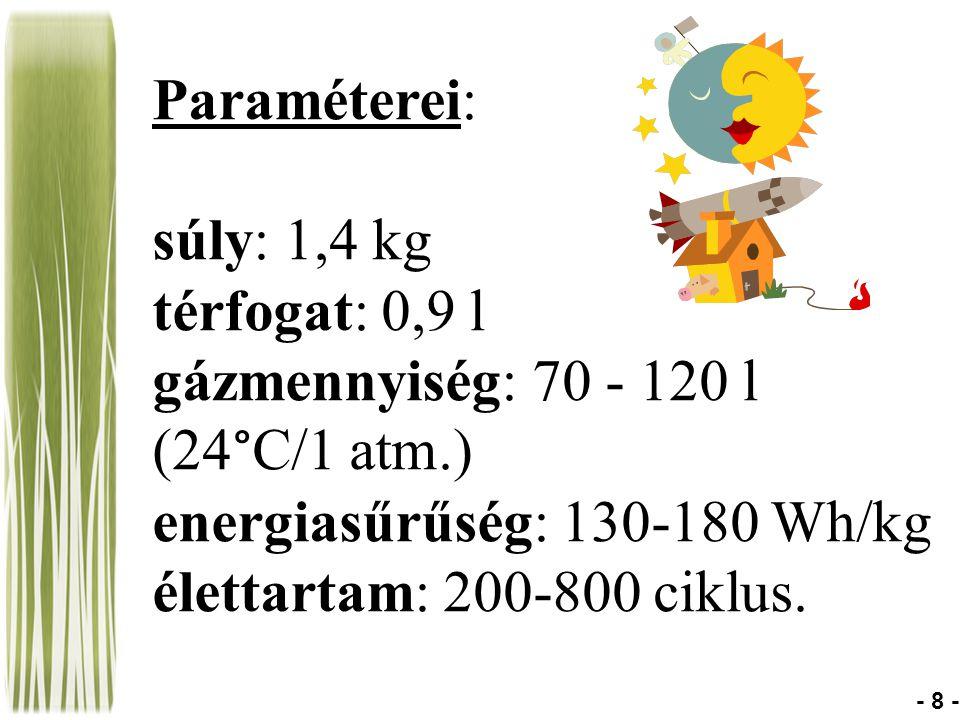 energiasűrűség: 130-180 Wh/kg élettartam: 200-800 ciklus.