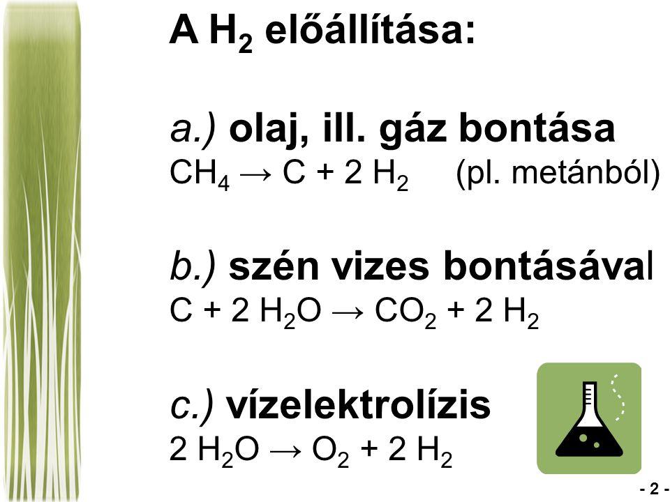 a.) olaj, ill. gáz bontása CH4 → C + 2 H2 (pl. metánból)