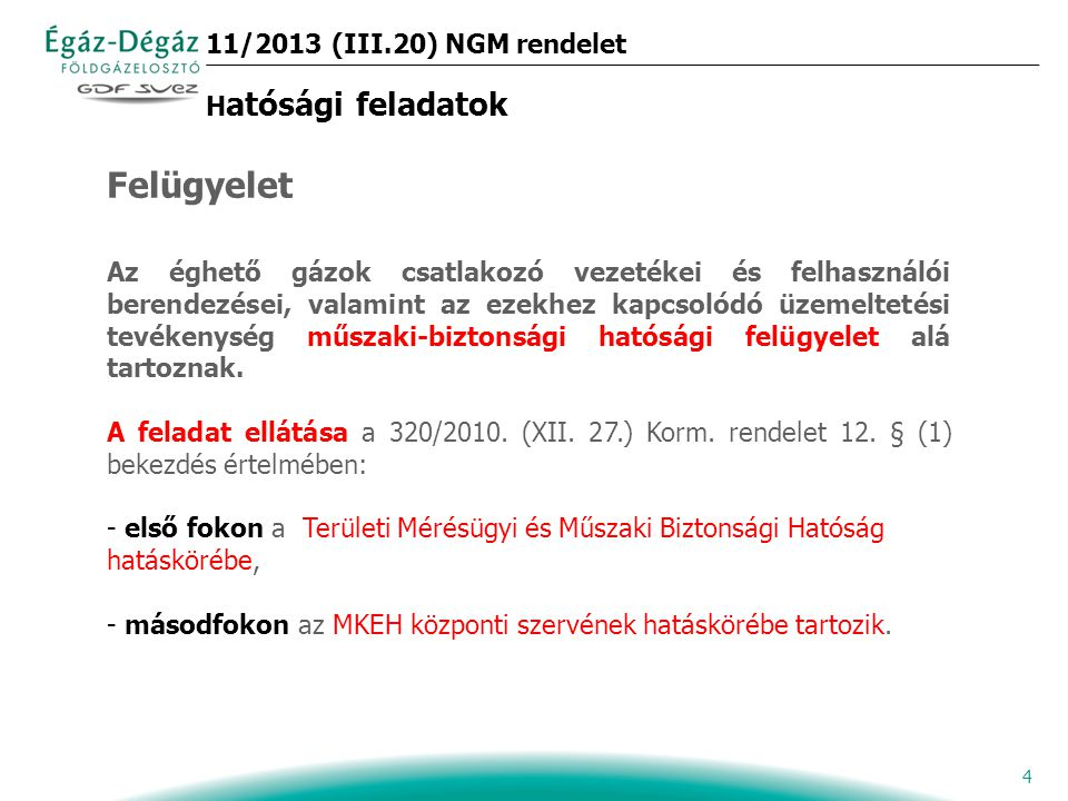 11/2013 (III.20) NGM rendelet Hatósági feladatok