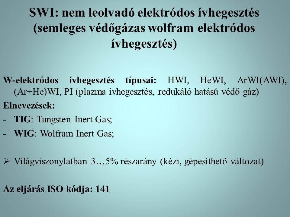 SWI: nem leolvadó elektródos ívhegesztés (semleges védőgázas wolfram elektródos ívhegesztés)