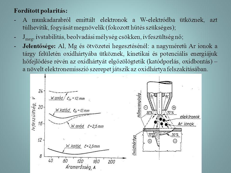 Fordított polaritás: A munkadarabról emittált elektronok a W-elektródba ütköznek, azt túlhevítik, fogyását megnövelik (fokozott hűtés szükséges);