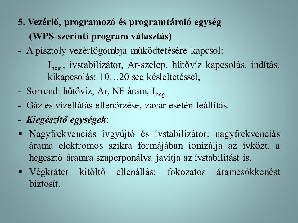 5. Vezérlő, programozó és programtároló egység