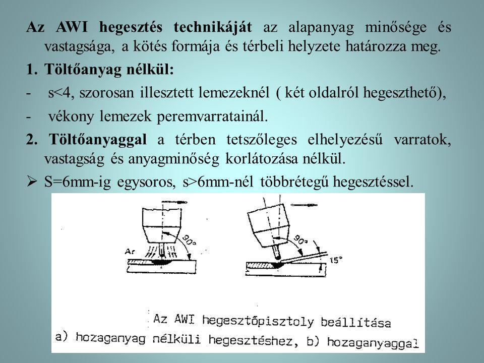 Az AWI hegesztés technikáját az alapanyag minősége és vastagsága, a kötés formája és térbeli helyzete határozza meg.