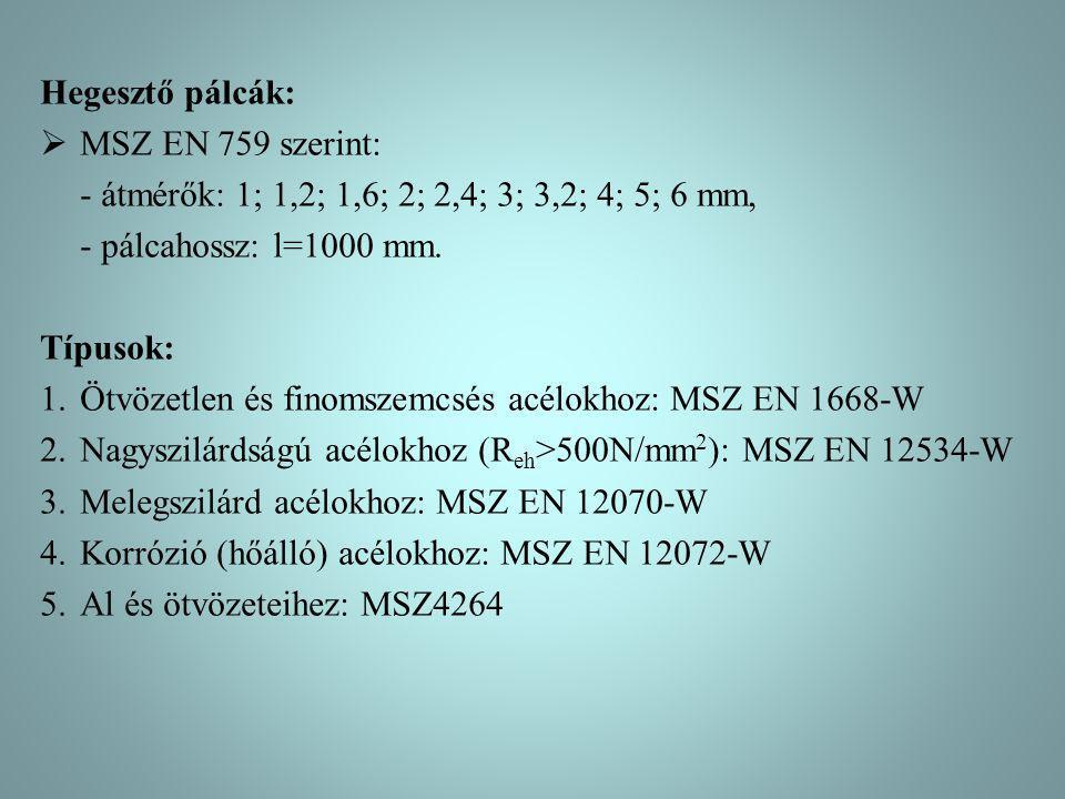 Hegesztő pálcák: MSZ EN 759 szerint: - átmérők: 1; 1,2; 1,6; 2; 2,4; 3; 3,2; 4; 5; 6 mm, - pálcahossz: l=1000 mm.