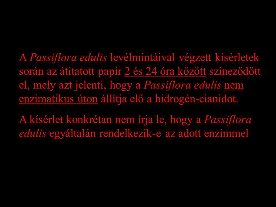 A Passiflora edulis levélmintáival végzett kísérletek során az átitatott papír 2 és 24 óra között szineződött el, mely azt jelenti, hogy a Passiflora edulis nem enzimatikus úton állítja elő a hidrogén-cianidot.