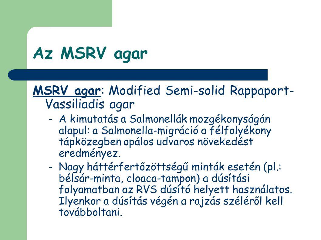 Az MSRV agar MSRV agar: Modified Semi-solid Rappaport-Vassiliadis agar