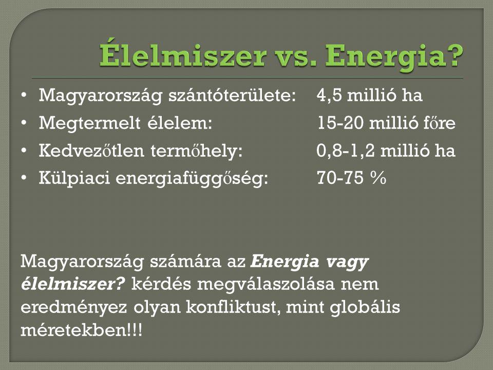 Élelmiszer vs. Energia Magyarország szántóterülete: 4,5 millió ha