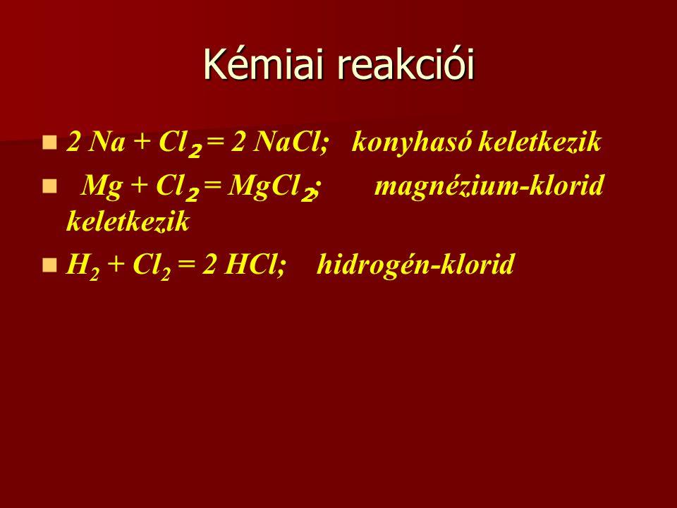 Kémiai reakciói 2 Na + Cl2 = 2 NaCl; konyhasó keletkezik