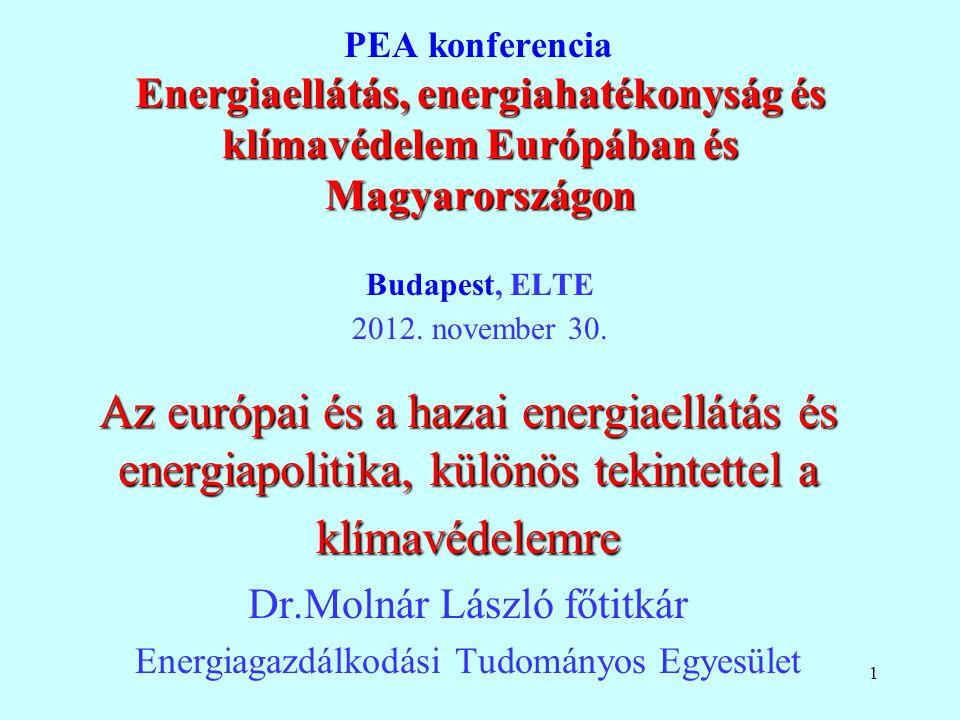 PEA konferencia Energiaellátás, energiahatékonyság és klímavédelem Európában és Magyarországon Budapest, ELTE 2012. november 30.