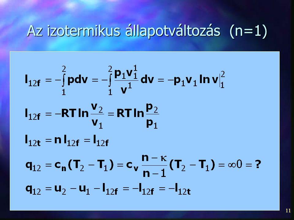 Az izotermikus állapotváltozás (n=1)