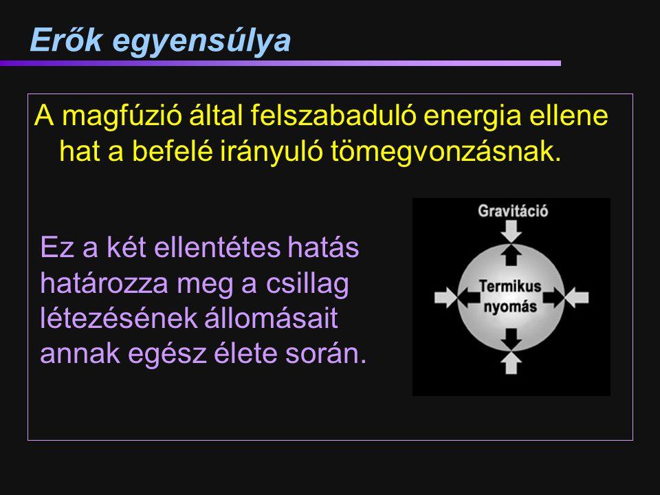 Erők egyensúlya A magfúzió által felszabaduló energia ellene hat a befelé irányuló tömegvonzásnak.