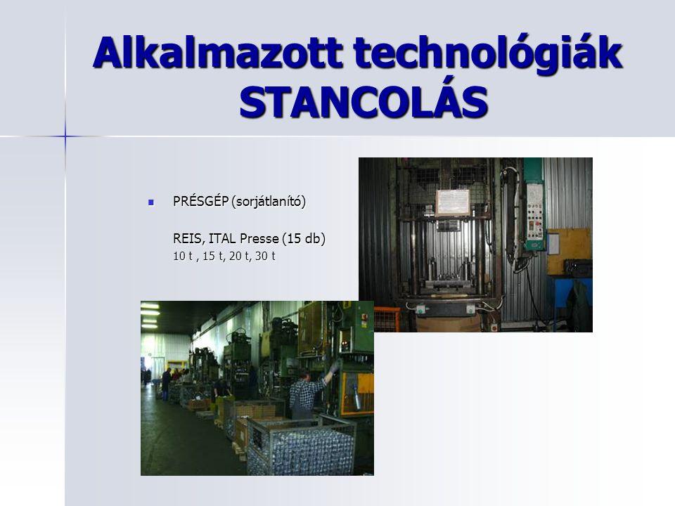 Alkalmazott technológiák STANCOLÁS