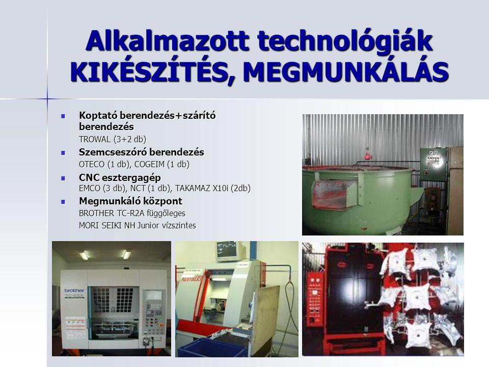 Alkalmazott technológiák KIKÉSZÍTÉS, MEGMUNKÁLÁS