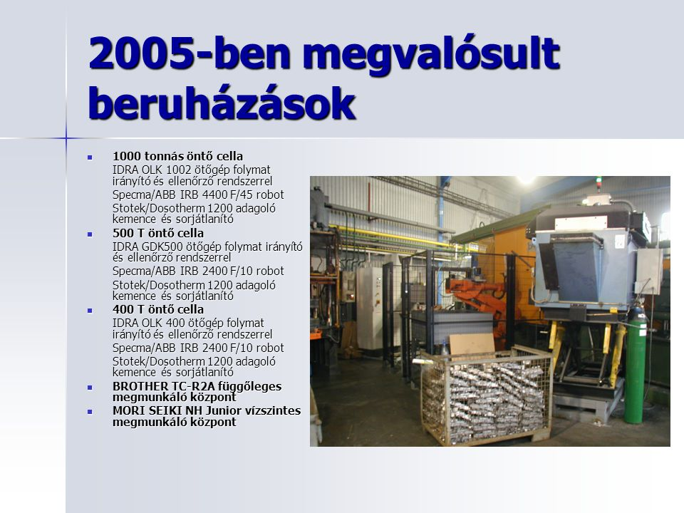 2005-ben megvalósult beruházások
