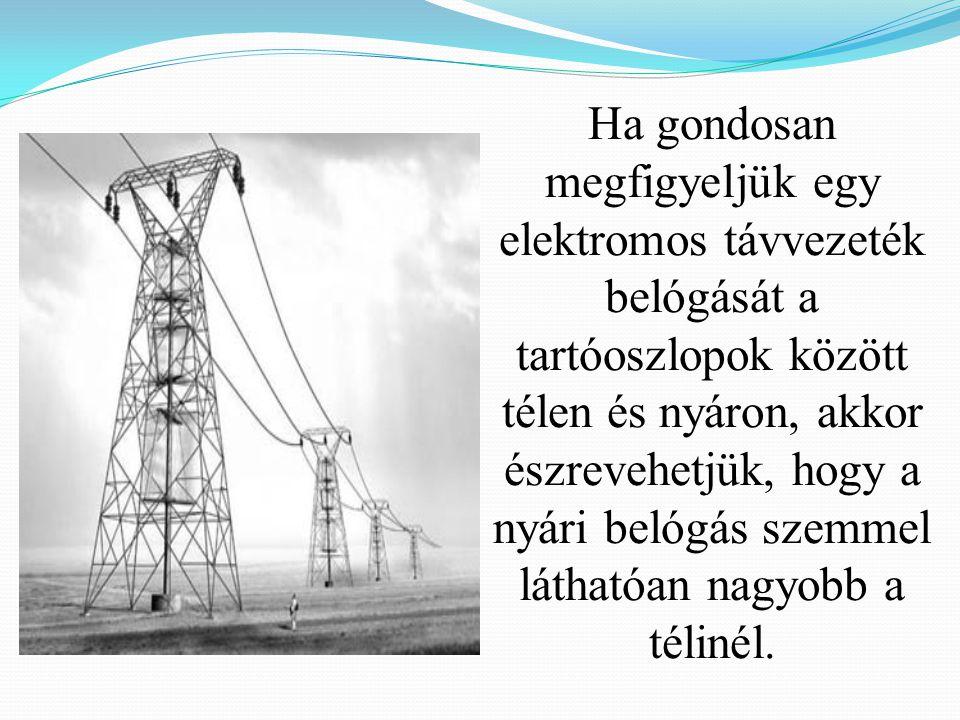 Ha gondosan megfigyeljük egy elektromos távvezeték belógását a tartóoszlopok között télen és nyáron, akkor észrevehetjük, hogy a nyári belógás szemmel láthatóan nagyobb a télinél.