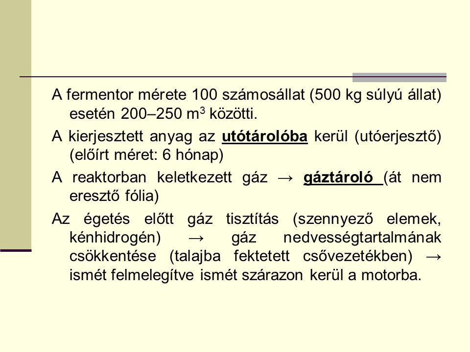 A fermentor mérete 100 számosállat (500 kg súlyú állat) esetén 200–250 m3 közötti.