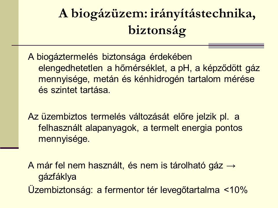 A biogázüzem: irányítástechnika, biztonság