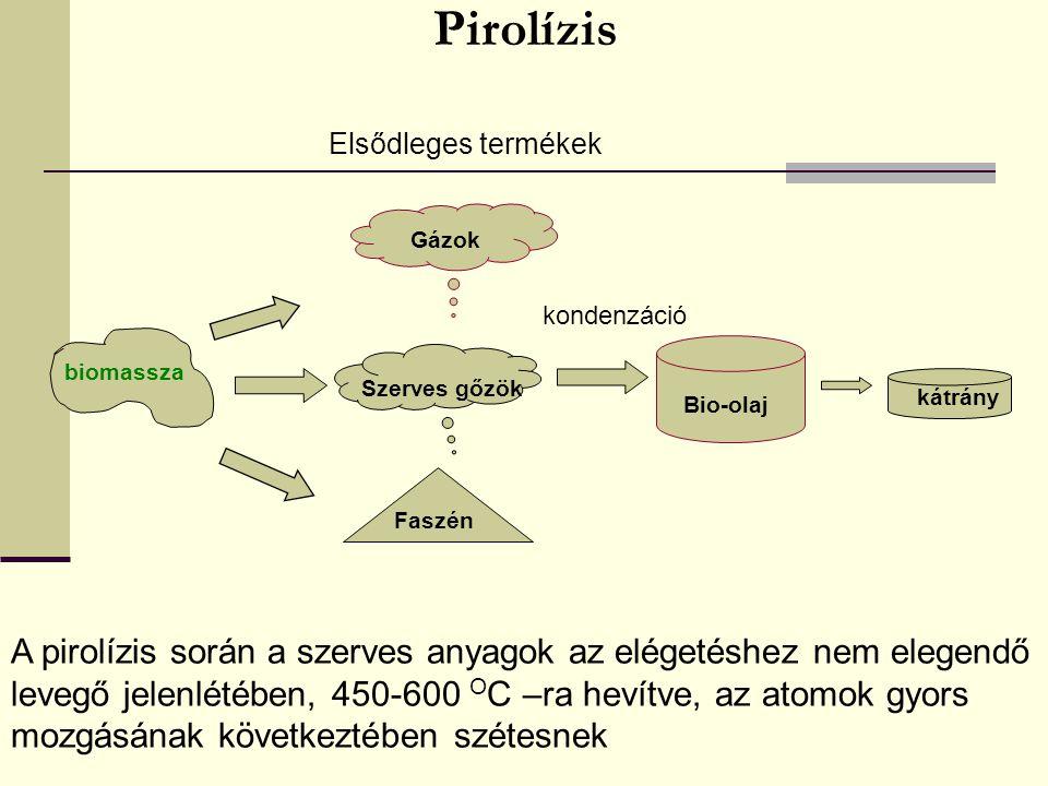 Pirolízis Elsődleges termékek. Gázok. kondenzáció. biomassza. Szerves gőzök. kátrány. Bio-olaj.