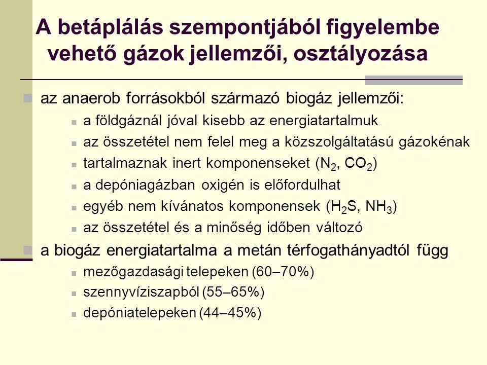A betáplálás szempontjából figyelembe vehető gázok jellemzői, osztályozása