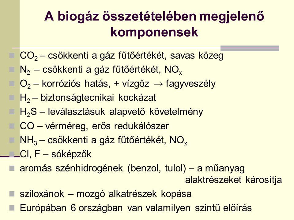A biogáz összetételében megjelenő komponensek
