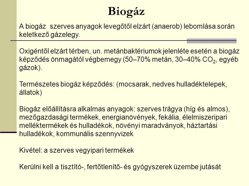 Biogáz A biogáz szerves anyagok levegőtől elzárt (anaerob) lebomlása során keletkező gázelegy.