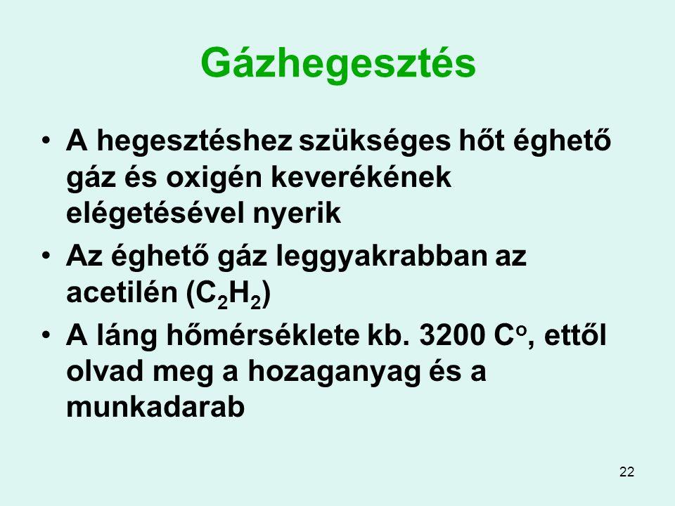 Gázhegesztés A hegesztéshez szükséges hőt éghető gáz és oxigén keverékének elégetésével nyerik. Az éghető gáz leggyakrabban az acetilén (C2H2)