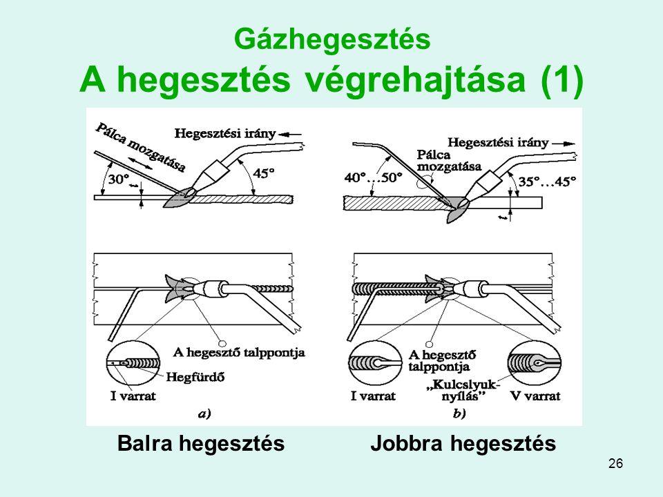 Gázhegesztés A hegesztés végrehajtása (1)