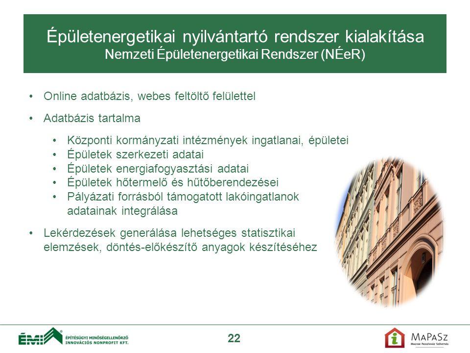 Épületenergetikai nyilvántartó rendszer kialakítása Nemzeti Épületenergetikai Rendszer (NÉeR)