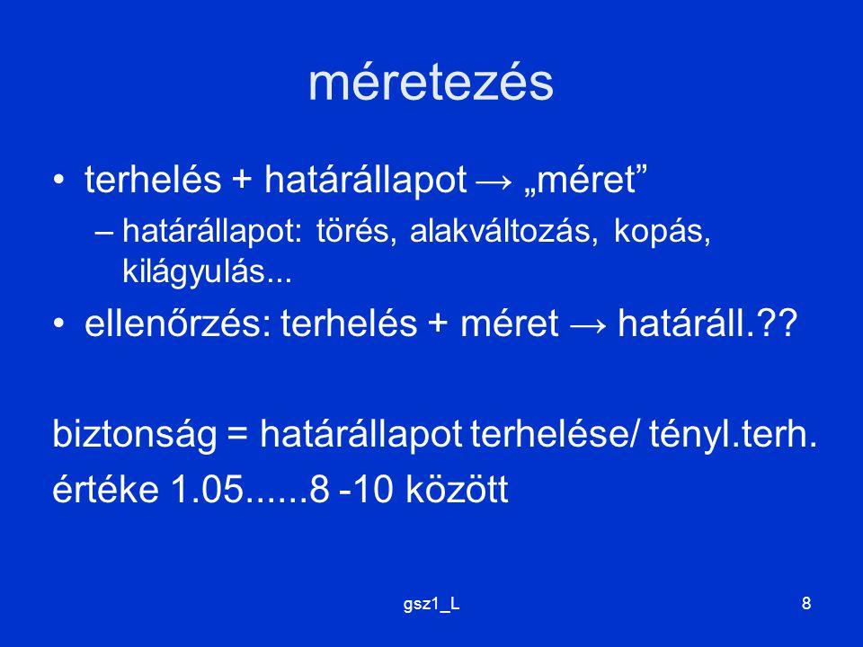 """méretezés terhelés + határállapot → """"méret"""
