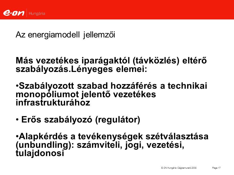 Az energiamodell jellemzői